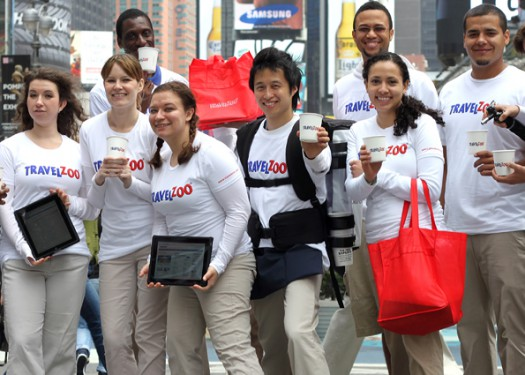 Handing out coffee & cookies in Times Square with TRAVELZOO!