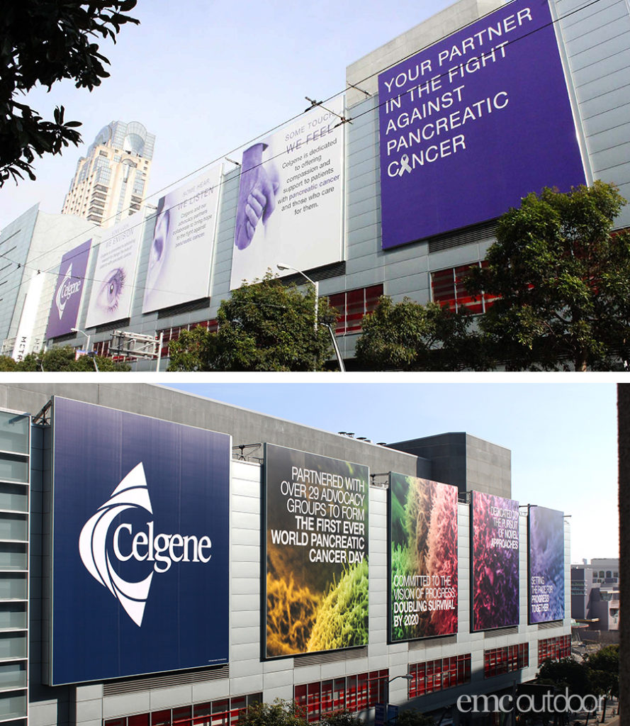 These Celgene wallscapes in San Francisco show a difference in creative execution from one year to the next, while still maintaining the same branding. The top creative is from 2017 and the bottom is from 2015.