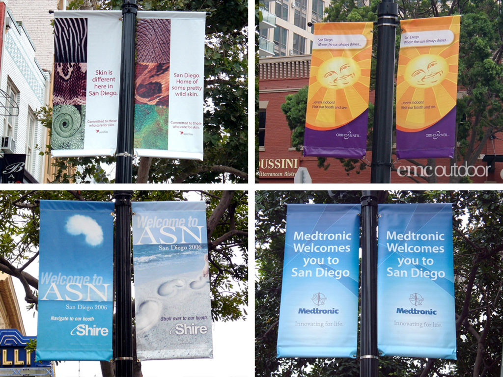 Examples of San Diego streetlamp pole banners. San Diego asks that advertisers have a creative tie-in to the city of San Diego in their creatives. Restrictions like these can lead to multiple interpretations.