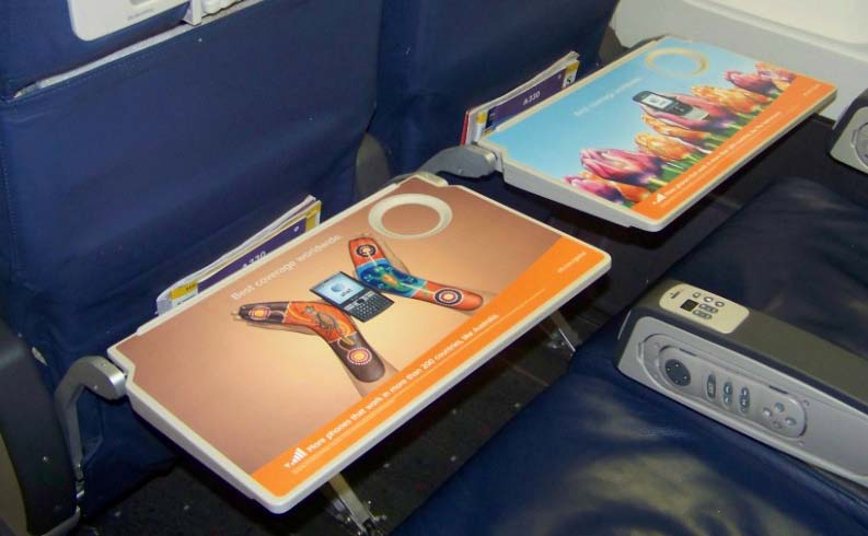 Airline Backseat Tray Wrap Advertising