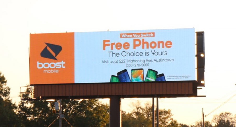 A billboard advertisement for a cell phone provider