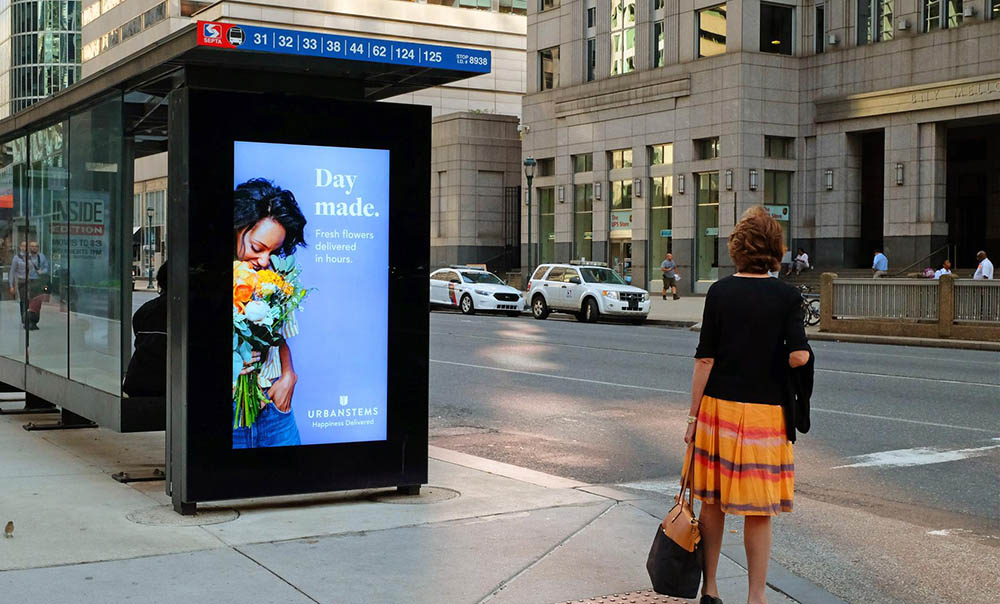 A digital bus shelter in the city