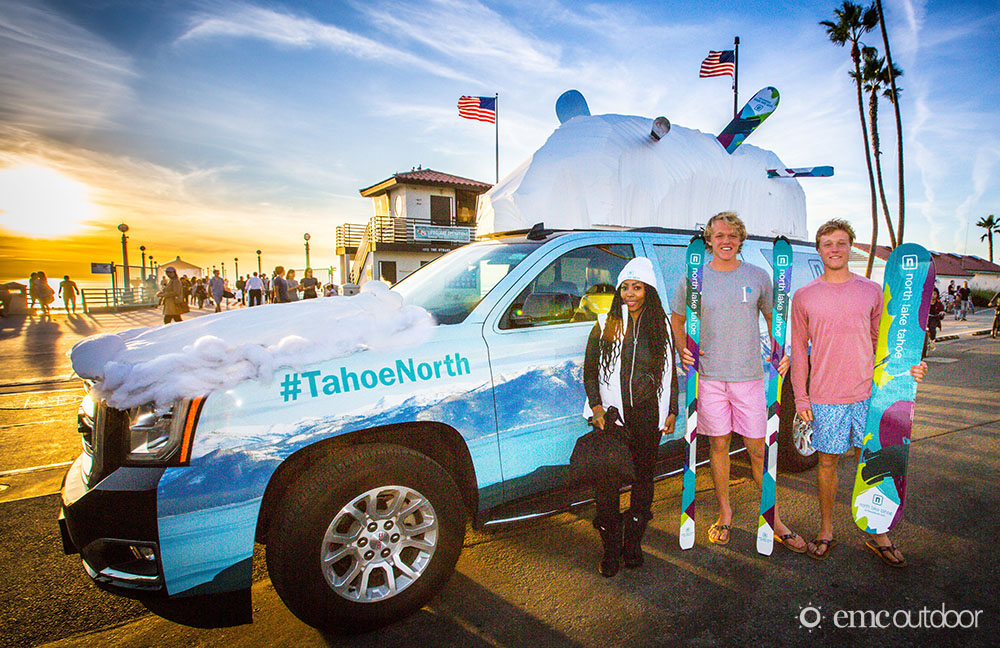 A wrapped car with advertising for North Lake Tahoe resort