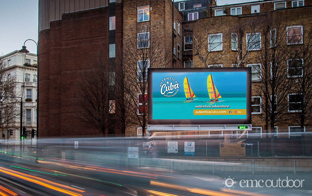 A digital billboard with advertising for a tourist destination