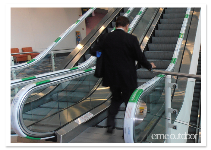 Branded escalator handrails