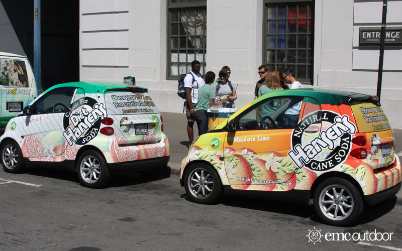 Wrapped Vehicles in an advertising campaign.