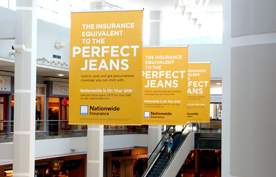 Image of mall advertising banners for an insurance company