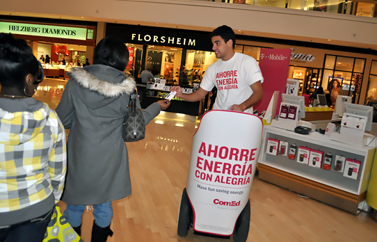 Image of segway advertising being used in a mall