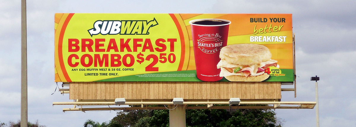 Image of billboard advertising used by a national restaurant chain to drive traffic to local stores