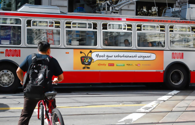 Image of bus advertising media used in San Francisco
