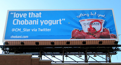 billboard advertising for Chobani Greek yogurt