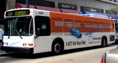 Wrapped Bus Advertising for Nationwide Insurance