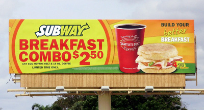 Billboard advertising for Subway Restaurants