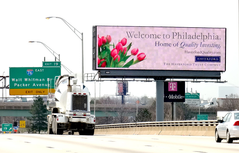 Image of digital billboard advertising in Philadelphia for a financial client