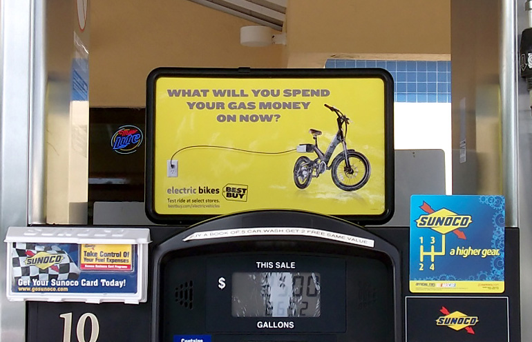 Image of gas station advertising for a national retail chain