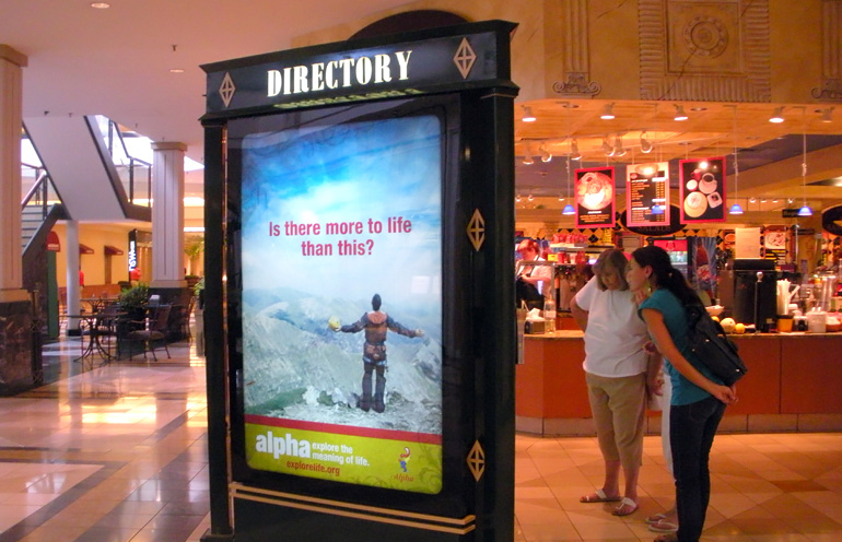 Image of mall advertising used to reach a local audience