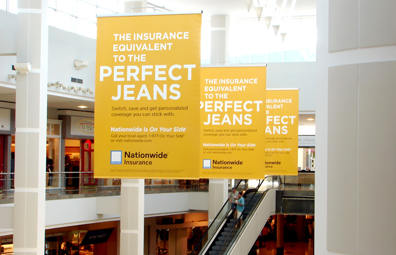 Image of mall advertising banners used in a national campaign