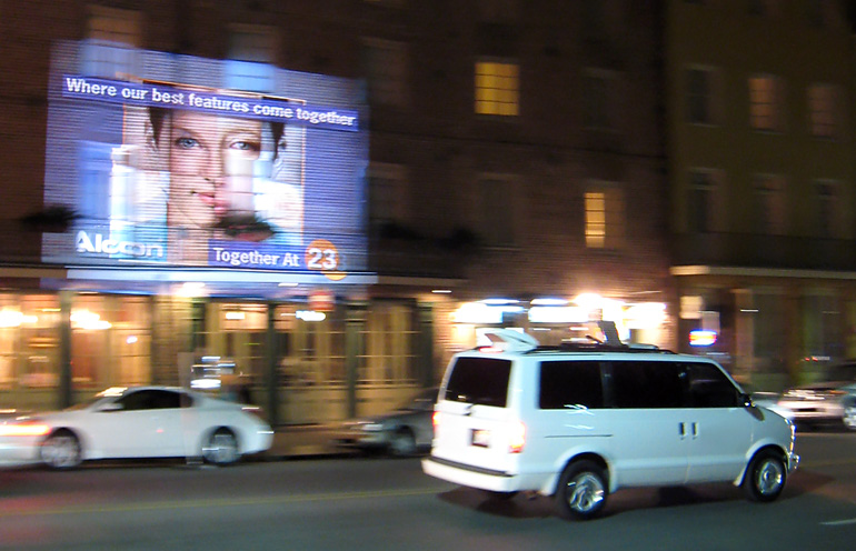 Mobile projection advertising used to reach event attendees in New Orleans