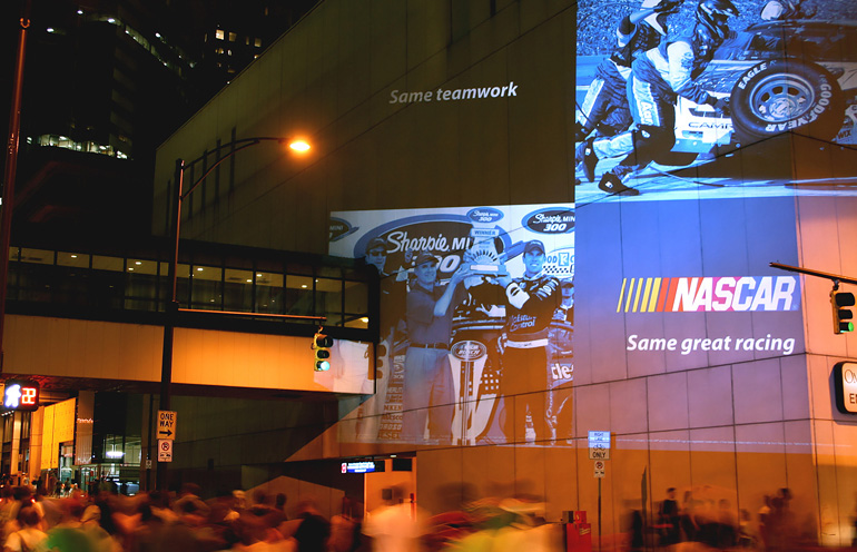 Mobile video projection used to reach NASCAR fans at a race event