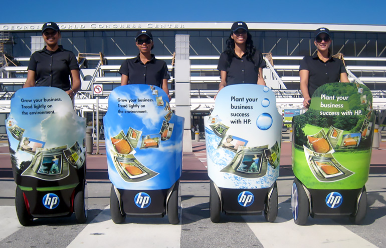 Image of a group of Segway ads used to reach convention attendees in Atlanta