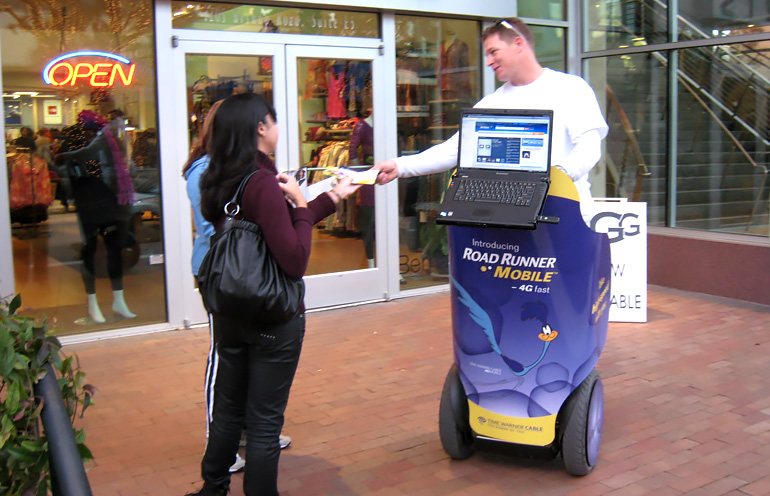 Image of segway advertising equipped with interactive digital display