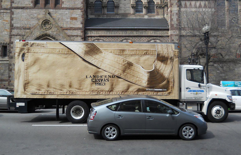 Image of truckside advertising used to launch a national apparell brand