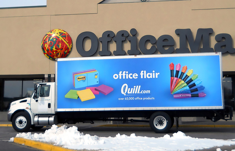 Image of truckside advertising used by an online office supply company