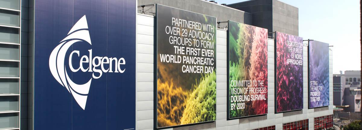 Image of wallscape advertising used to reach trade show attendees
