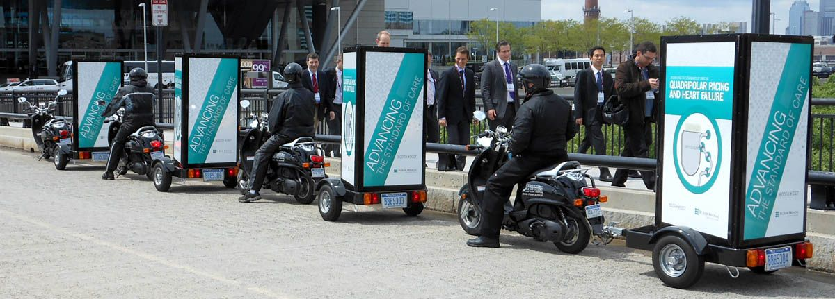 Picture of scooter ads used for trade show marketing
